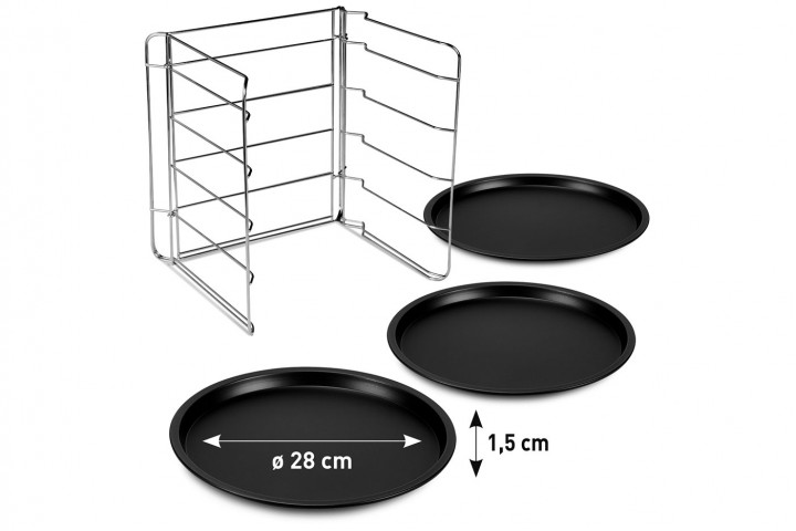 Set 3 pizza tins with steel  grill rack